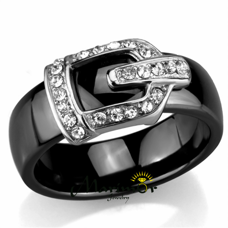 Black Ceramic 10mm Wide Stainless Steel Crystal Buckle Rings Size 6 - 8