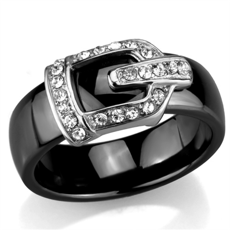 AR3W954 Stainless Steel Black Ceramic 6mm Wide Crystal Buckle Rings Size 6 - 8