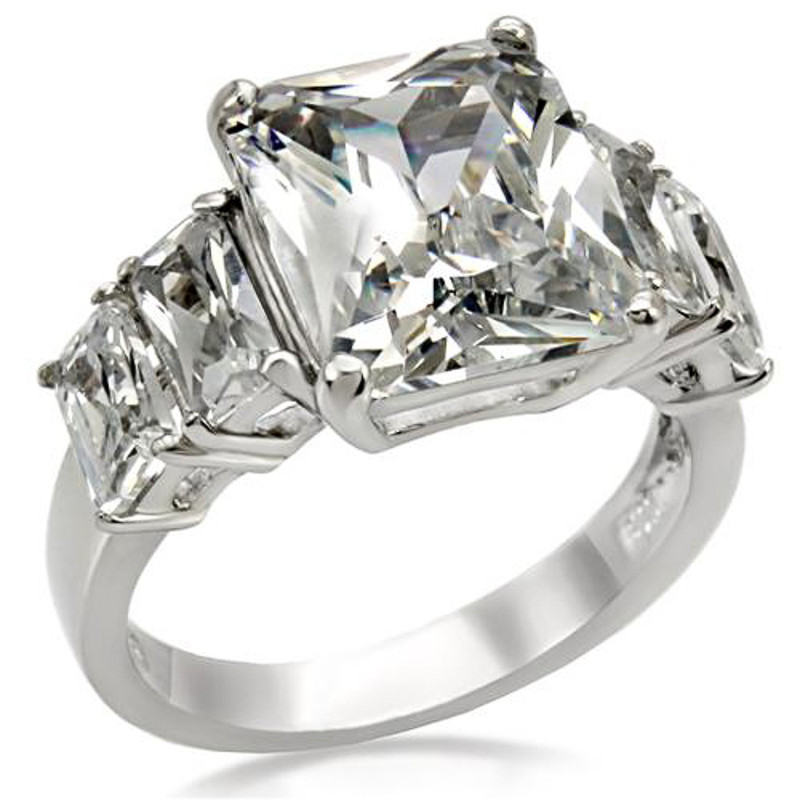9.50 CT RADIANT CUT ZIRCONIA STAINLESS STEEL ENGAGEMENT RING WOMEN'S SIZE 5-10