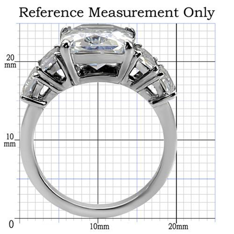 ARTK007 Stainless Steel 9.50 Ct Radiant Cut Zirconia Engagement Ring Women's Sizes 5-10