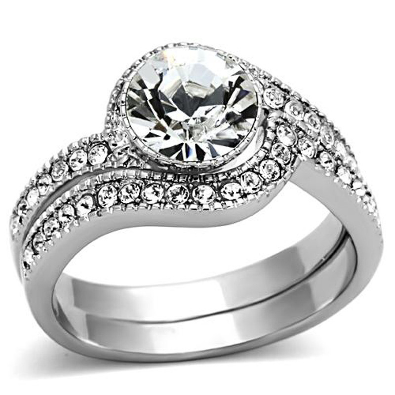 ARTK1155 Stainless Steel 2.25 Ct Round Cubic Zirconia 316 Wedding Band Ring Set Sz 5-10