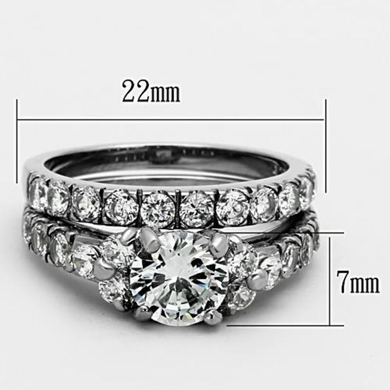 ARTK1331 Stainless Steel 2.50 Ct Round Cut CZ Silver Wedding Ring Set Women's Size 5-10