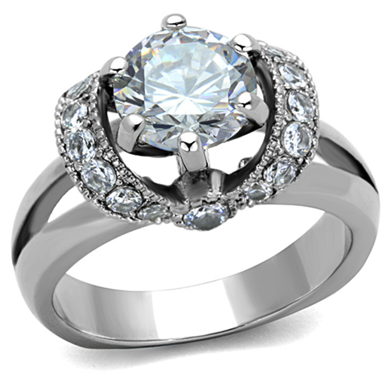 2.5 CT ROUND CUT AAA ZIRCONIA STAINLESS STEEL ENGAGEMENT RING WOMEN'S SIZE 5-10