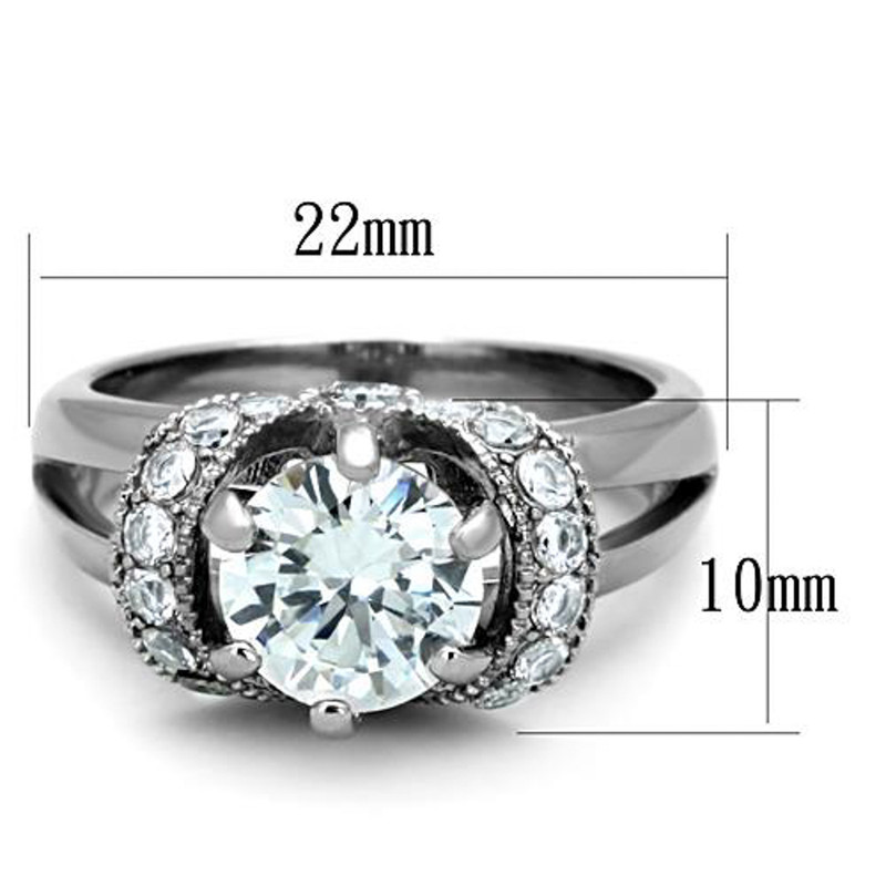 ARTK1757 Stainless Steel 2.5 Ct Round Cut AAA Zirconia Engagement Ring Women's Size 5-10