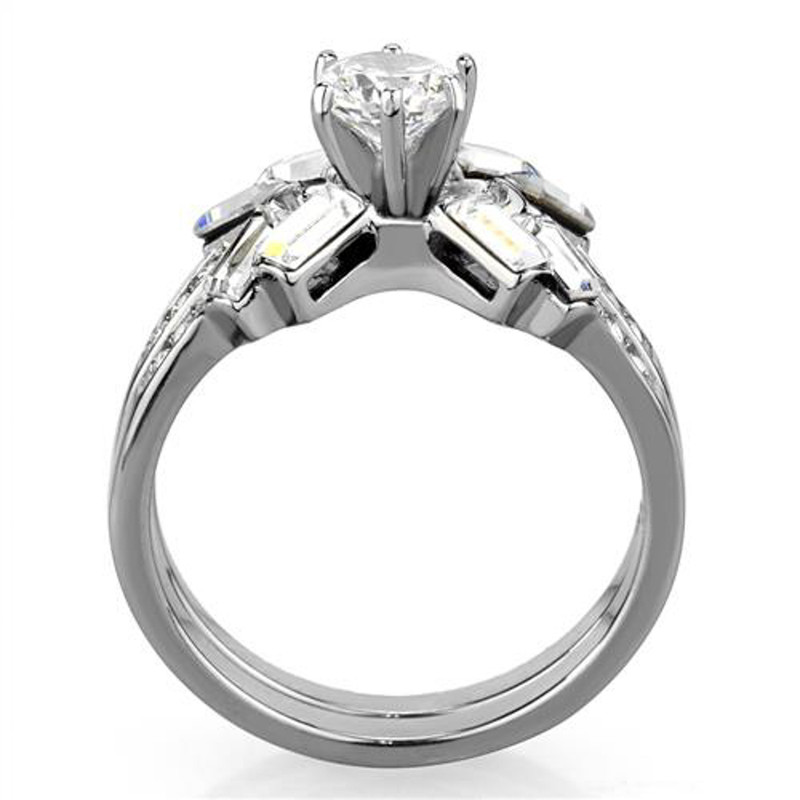 ARTK1856 Stainless Steel 1.65 Ct Round & Baguette Cut Cz Wedding Ring Set Women's Size 5-10