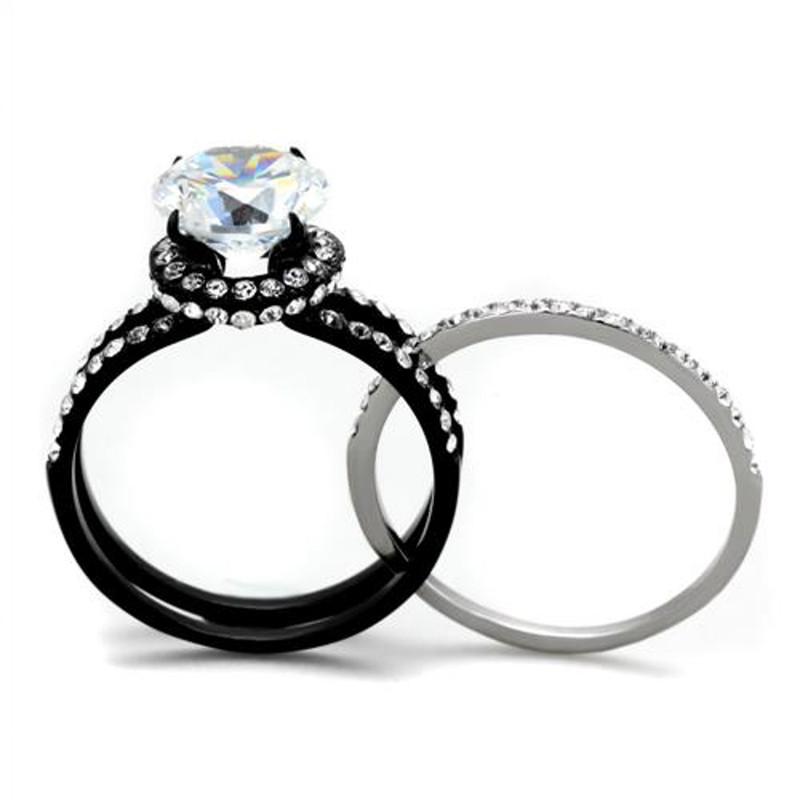 ARTK1870 Stainless Steel 3.45 Ct Halo Round Cut CZ Black Wedding Ring Set Women's Size 5-10
