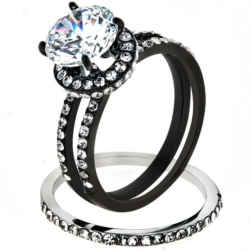 3.45 CT Halo Round Cut CZ Black Stainless Steel Wedding Ring Set Women's Size 5-10