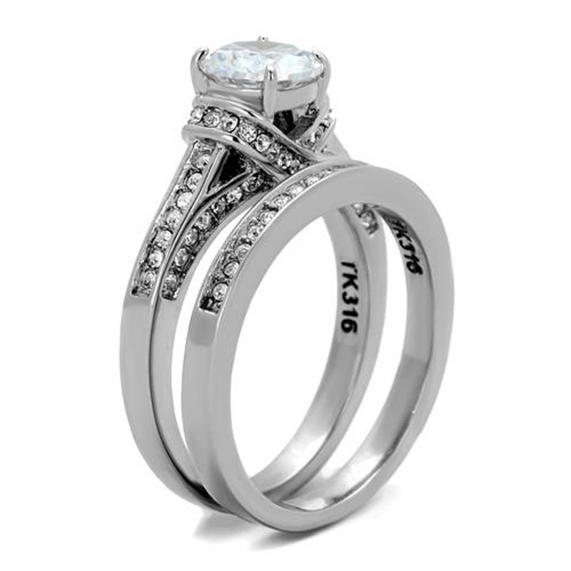 ARTK1919 Stainless Steel 2.75 CT Round Cut AAA CZ Wedding Ring Band Set Women's Size 5-10