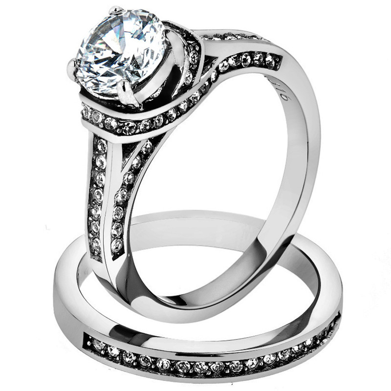 2.75 CT Round Cut AAA CZ Stainless Steel Wedding Ring Band Set Women's Size 5-10
