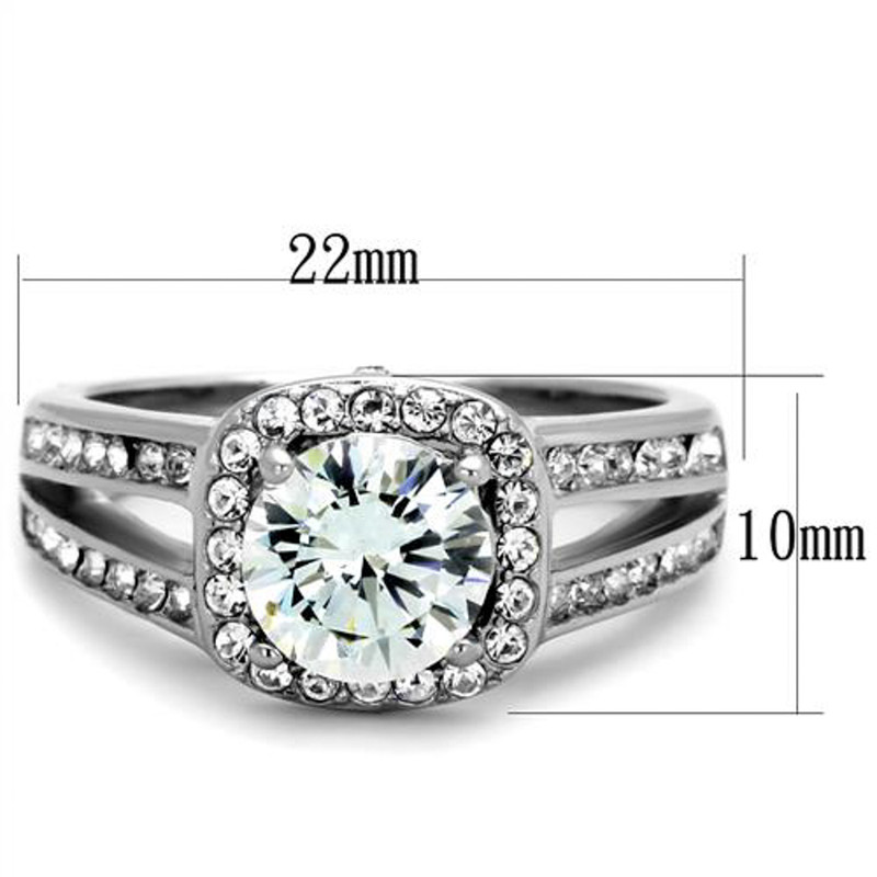 ARTK2043 Stainless Steel 2.95 CT Halo Round Cut CZ Engagement Ring Band Women's Size 5-10