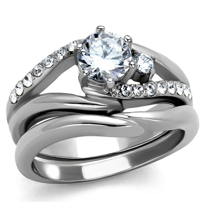 1.19 Ct Round Cut Cubic Zircona Stainless Steel Wedding Ring Set Women's Sz 5-10