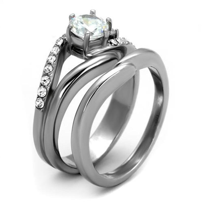 ARTK2118 Stainless Steel 1.19 Ct Round Cut Cubic Zircona Wedding Ring Set Women's Sz 5-10