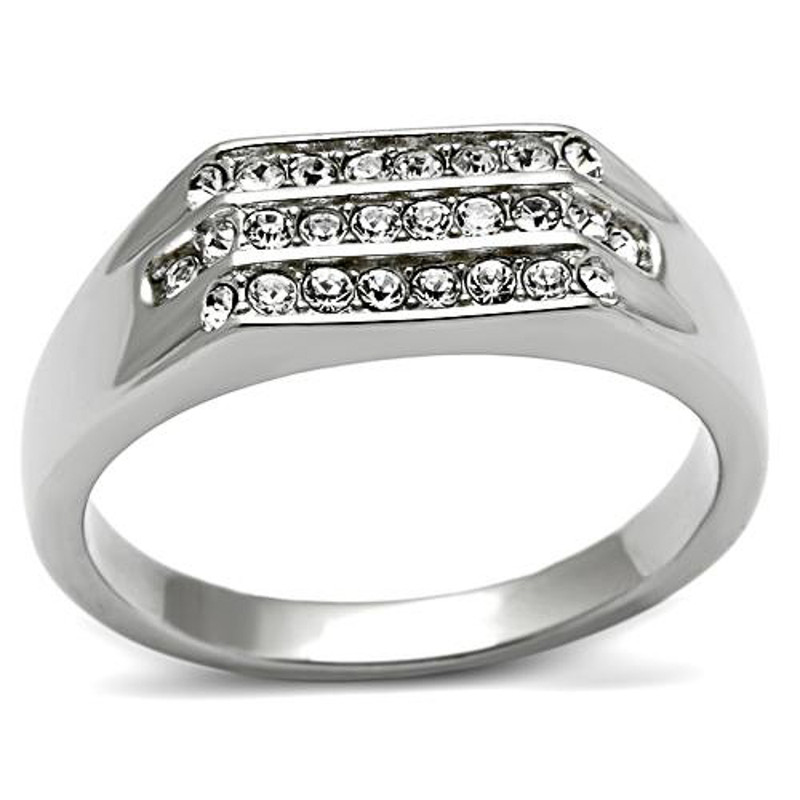 316 Men's .26 CT Simulated Diamond High Polished Ring Size 8-13