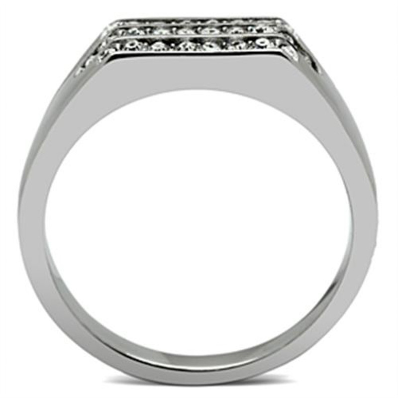 ARTK375 Stainless Steel 316 Men's .26 CT Simulated Diamond High Polished Ring Size 8-13