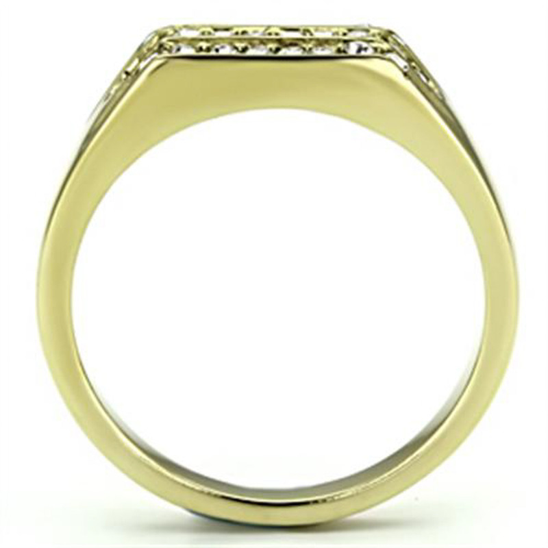 ARTK727 Stainless Steel Men's 14K Gold Ion Plated .26 CT Simulated Diamond Ring Size 8-13