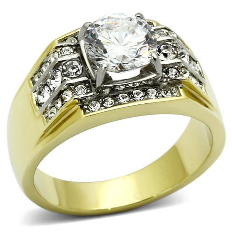 Men's 2.80 CT Round Cut 14K Gold Plated Simulated Diamond Ring
