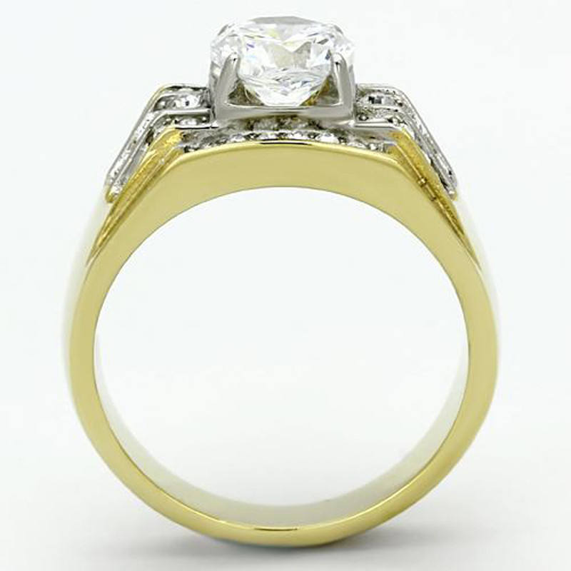 ARTK736 Stainless Steel Men's 2.80 CT Round Cut 14K Gold Plated Simulated Diamond Ring