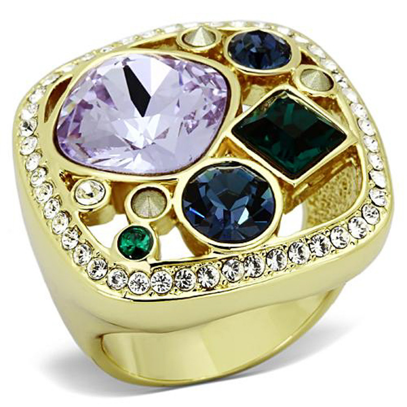 14K Gold Ion Plated Multi-Stone Cocktail Cluster Ring Size 5-10