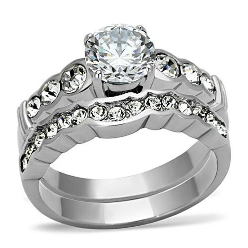ARTK974 Stainless Steel 316 2.35 Ct Round Zirconia Engagement Wedding Ring Set Sz 5-10