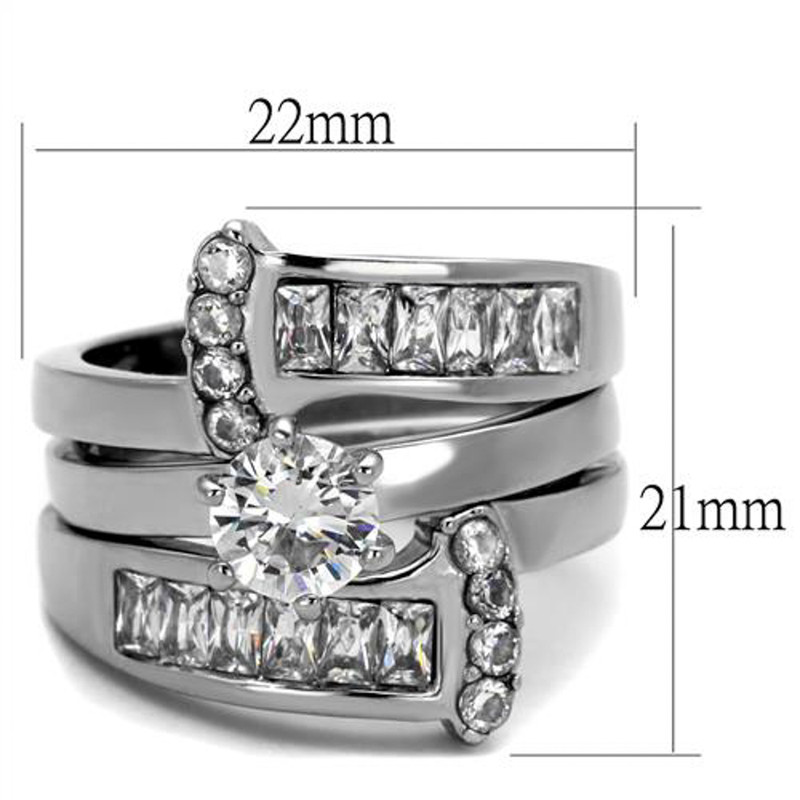 TK976 Stainless Steel Women's Round Cut Silver AAA CZ Wedding Ring Band Set Size 5-10