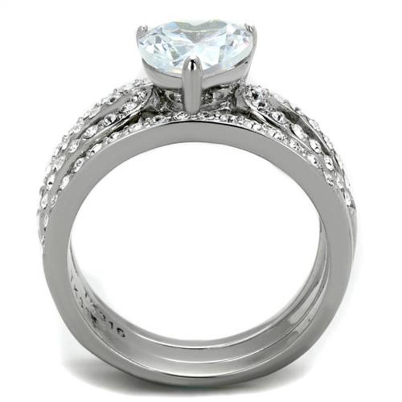ARTK2041 Heart Shape 3.15 Ct CZ Wedding & Engagement Ring 3 Piece Set Women's Size 5-10