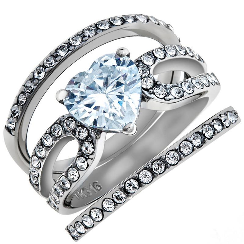 3.15 CT CZ Wedding & Engagement Ring 3 Piece Set Women's Size 5-10