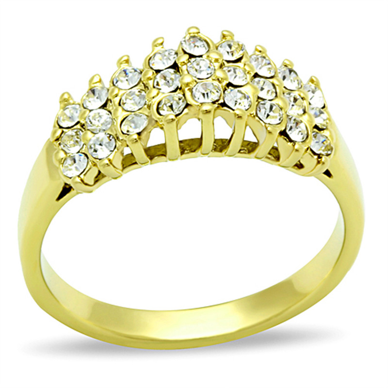 14K Gold Ion Plated .81 CT Crystal Cocktail Fashion Ring Size 5-10