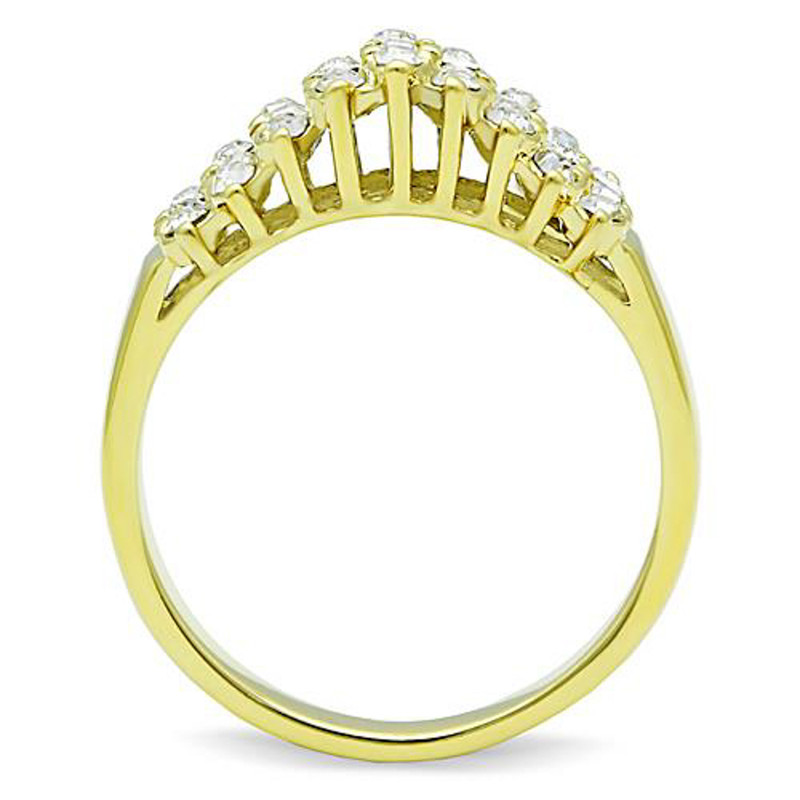 ARTK1384 Stainless Steel 14K Gold Ion Plated .81 Ct Crystal Cocktail Fashion Ring Size 5-10