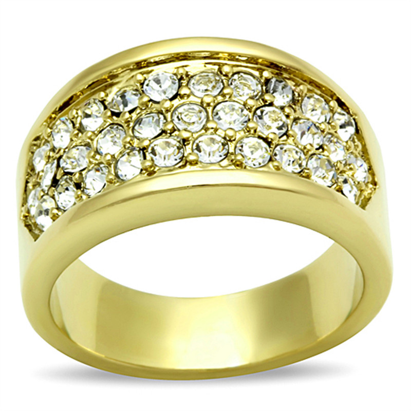 .63 CT Crystal 14K Gold Ion Plated Cocktail Fashion Ring Size 5-10