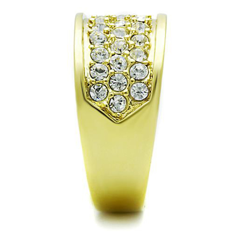 ARTK1385 Stainless Steel .63 Ct Crystal 14K Gold Ion Plated Cocktail Fashion Ring Size 5-10