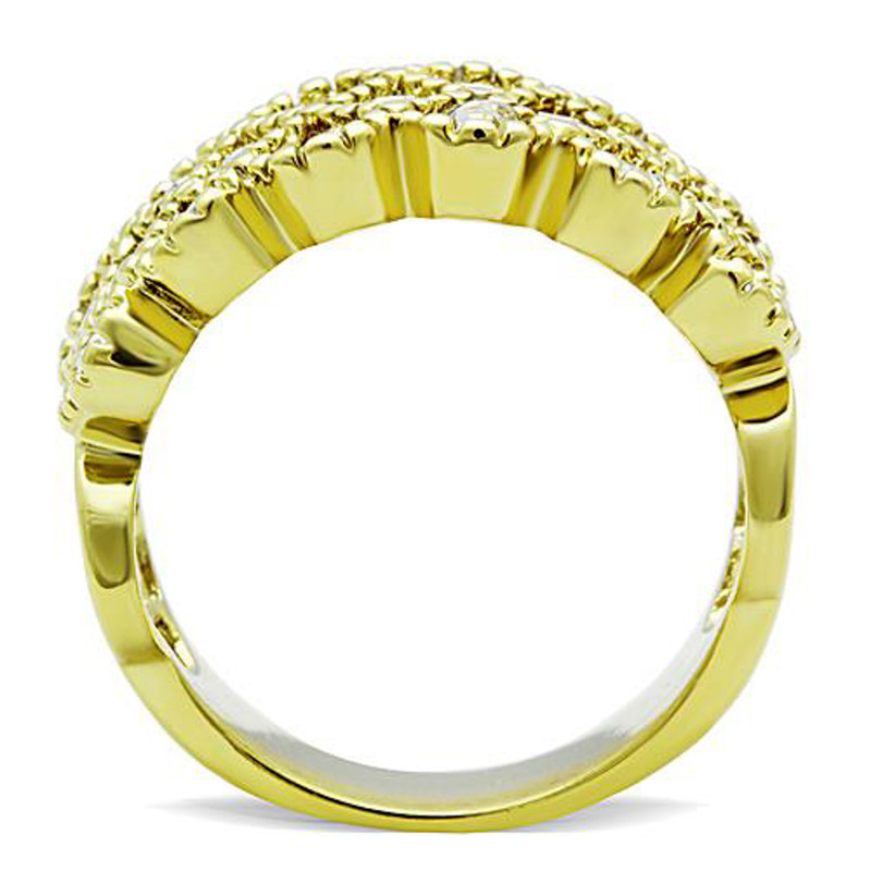 ARTK1394 Stainless Steel 1.87 Ct Crystal 14k Gold Ion Plated Stainless Steel Cocktail Fashion Ring Sz 5-10