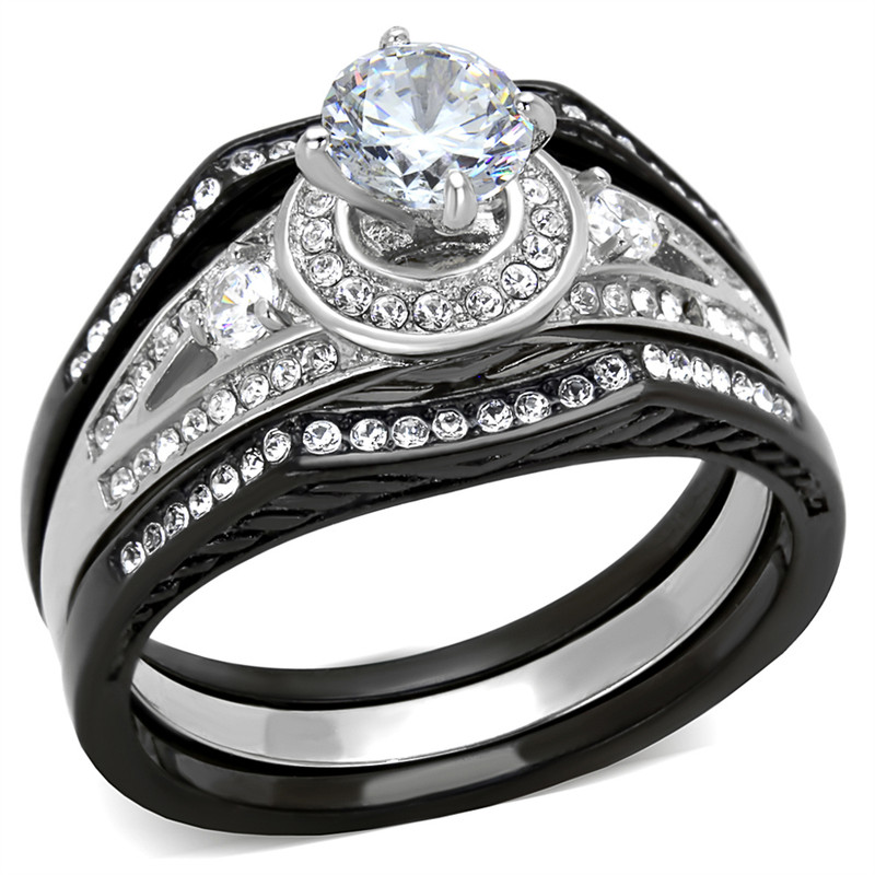 ARTK2044 Stainless Steel 2.15 Ct Halo Round Zirconia Black Stainless Steel Wedding Ring Set Womens Size 5-10