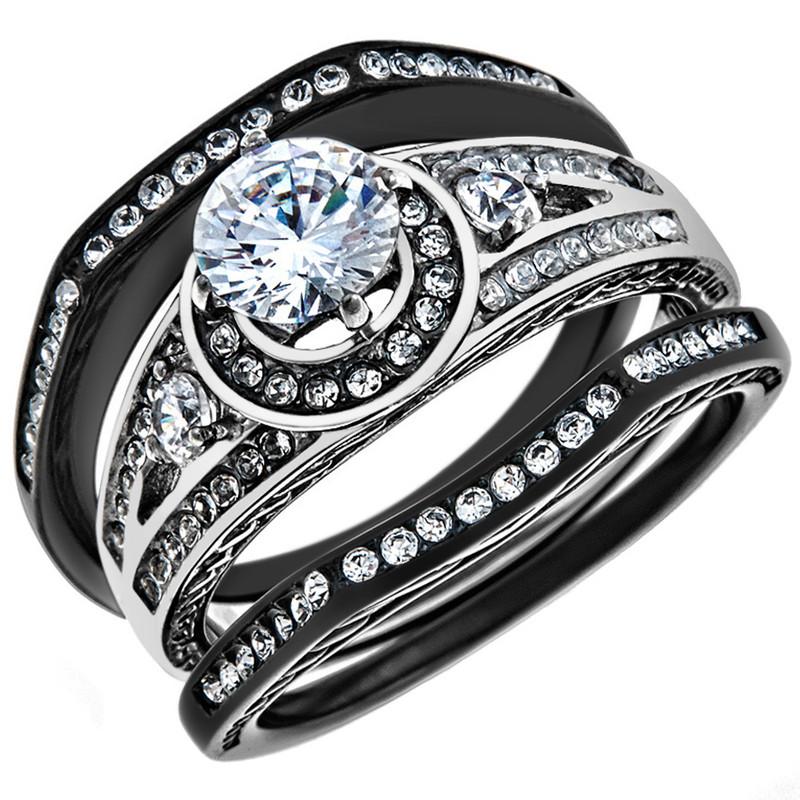 2.15 CT Halo Round Zirconia Black Stainless Steel Wedding Ring Set Womens Size 5-10