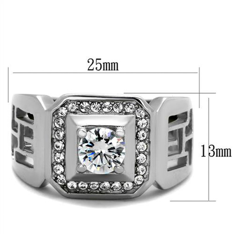 ARTK2046 Stainless Steel Men's 1.10 Ct Round Cut Simulated Diamond Silver Stainless Steel Ring Sizes 8-13