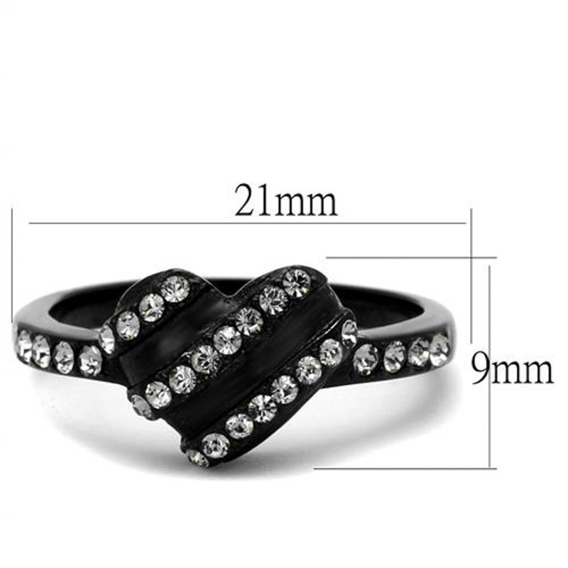 ARTK2100 Stainless Steel 0.14 Ct Crystal Black Heart Fashion Ring Women's Size 5-10