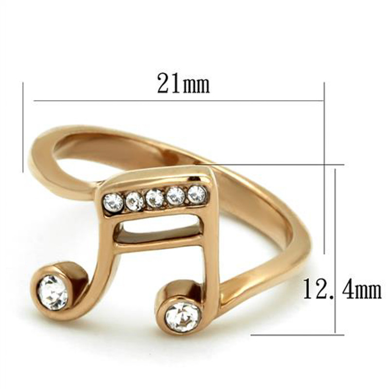 ARTK2130 Stainless Steel Rose Gold Plated Crystal Musical Note Fashion Ring Women Size 5-10