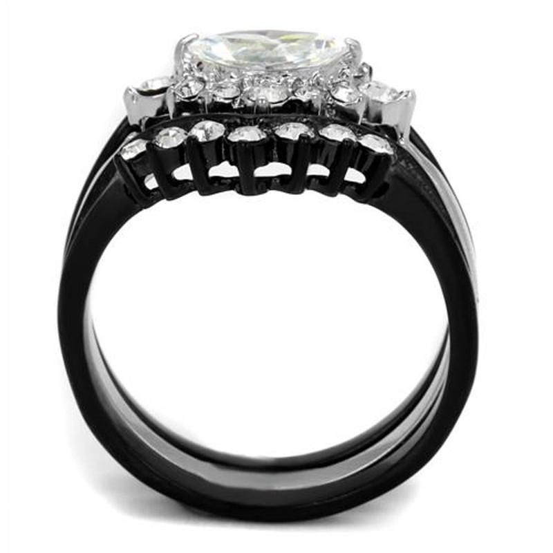 ARTK2188 Stainless Steel 1.95 Ct Marquise Cut Zirconia Black Stainless Steel Wedding Ring Set Women's 5-10