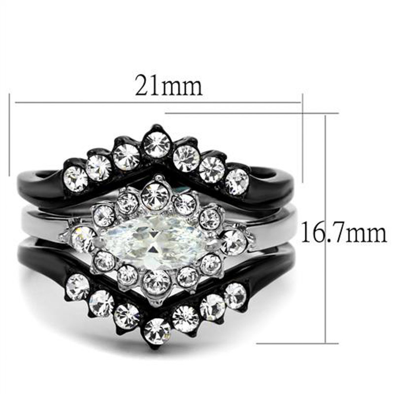 ARTK2188 Stainless Steel 1.95 Ct Marquise Cut Zirconia Black Stainless Steel Wedding Ring Set Women's 5-10