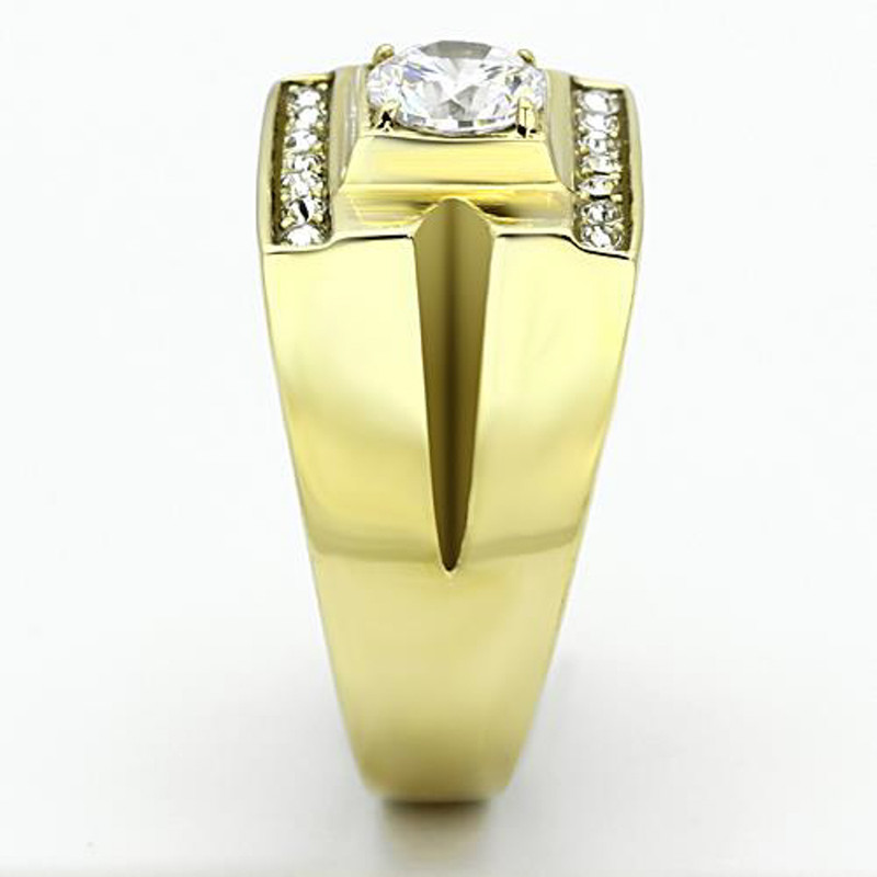 ARTK777 Stainless Steel Men's Stainless Steel 14k Gold Ion Plated 1.26 Ct Simulated Diamond Ring Sz 8-13