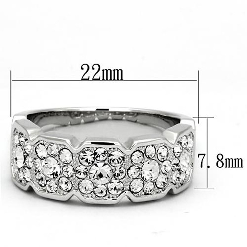 ARTK860 Stainless Steel 1.75 Ct Round Cut Crystals Cocktail Fashion Ring Women's Size 5-10