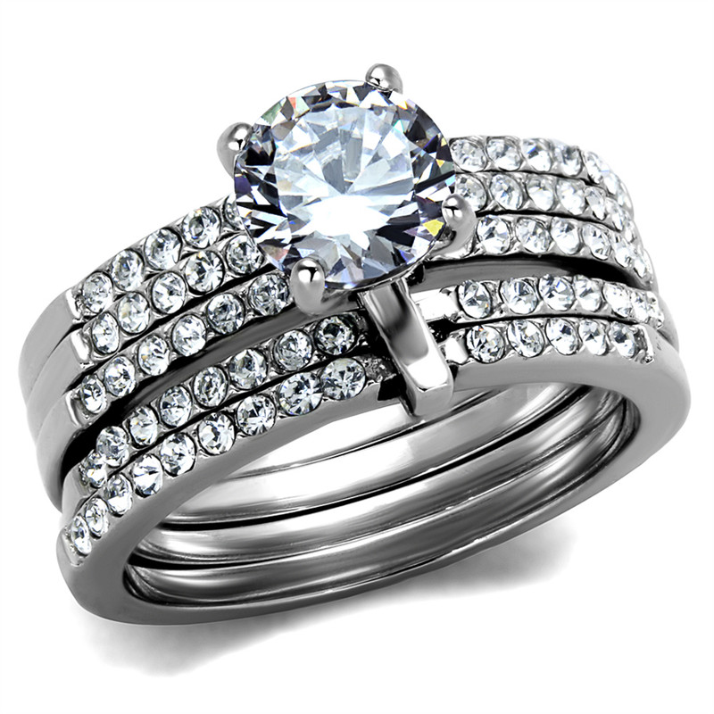 1.98Ct Round Cut CZ Stainless Steel Engagement & 5 Band Wedding Ring Set Size 5-10