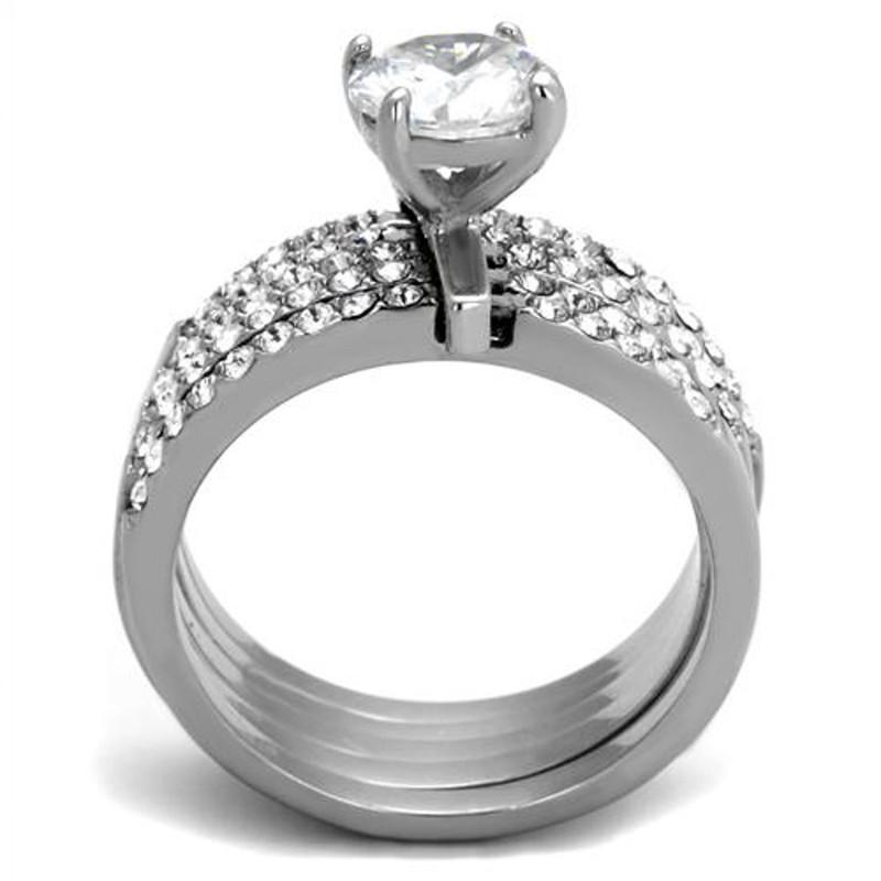 ARTK2120 Stainless Steel 1.98 Ct Round Cut CZ Engagement & 5 Band Wedding Ring Set Size 5-10
