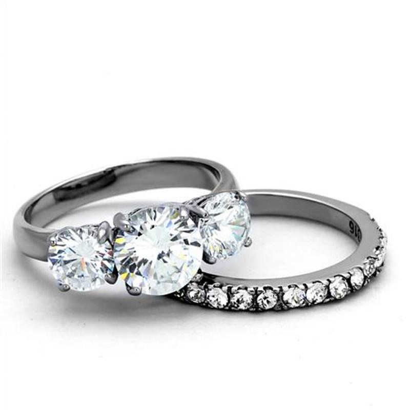 ARTK2177 Stainless Steel 4.17 Ct Round Cut 3 Stone Engagement & Wedding Ring Set Size 5-10