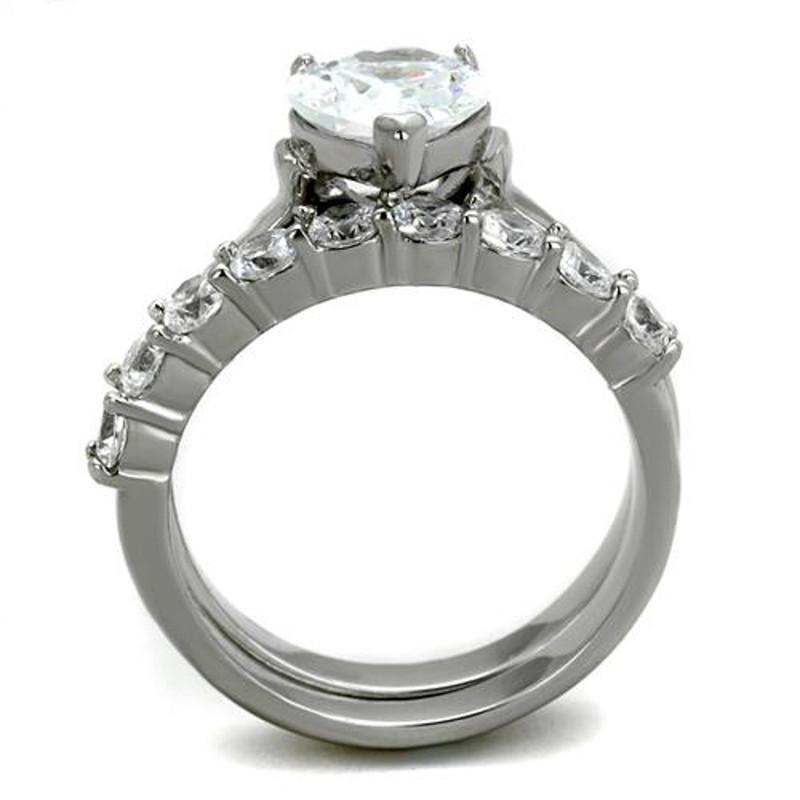 ARTK2176 Stainless Steel 2.70 Ct Heart Cut Cubic Zirconia Wedding Ring Set Women's Size 5-10