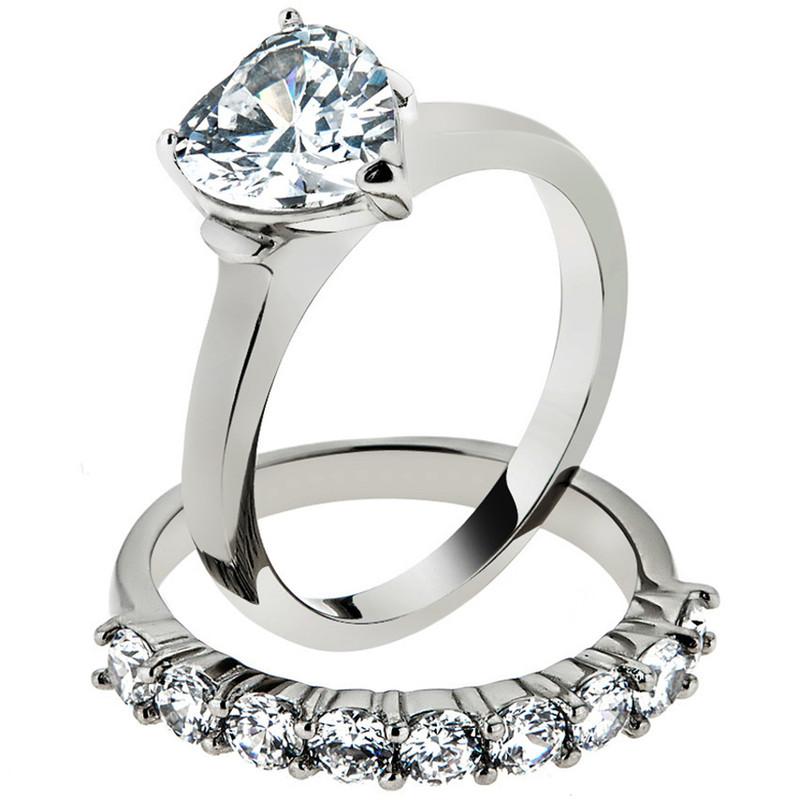 2.70 Ct Heart Cut Cubic Zirconia Wedding Ring Set Women's Size 5-10