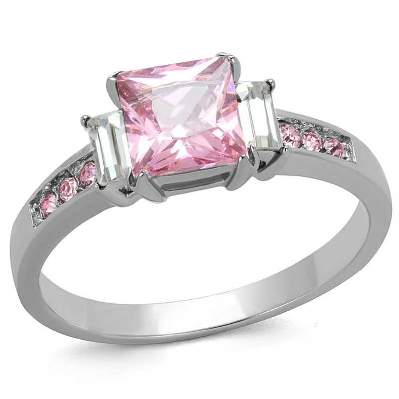 1.55 Ct Princess Cut Rose Zirconia Stainless Steel Engagement Ring Size 5-10