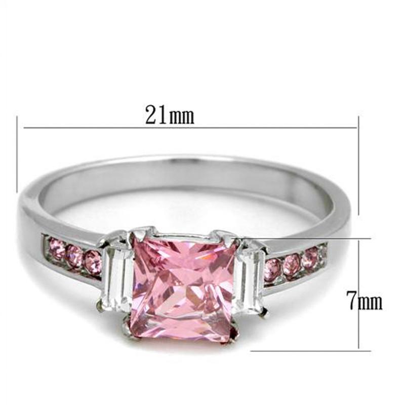 ARTK2169 Stainless Steel 1.55 Ct Princess Cut Rose Zirconia Engagement Ring Size 5-10