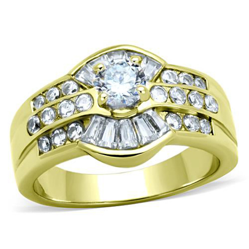 Stainless Steel 1.64 Ct Round & Baguette Cut CZ 14K GP Engagement Ring Size 5-10