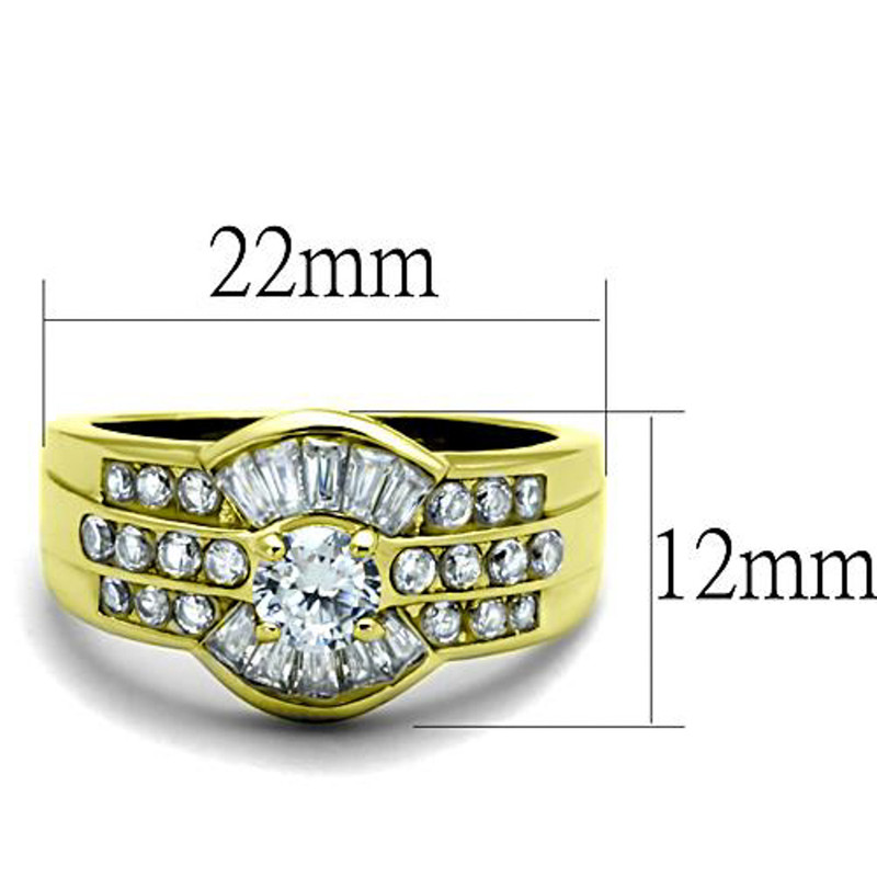 ARTK10528G Stainless Steel 1.64 Ct Round & Baguette Cut CZ 14K GP Engagement Ring Size 5-10