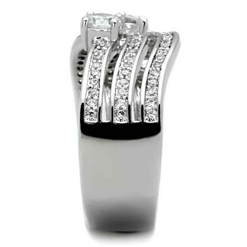 ARTK1683 Stainless Steel Women's .93 Ct Round Cut Zirconia Anniversary Ring Band Sz 5-10